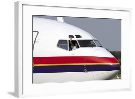Close-Up of the Nose Cone on a Boeing 737-800 of Meridiana Airlines--Framed Art Print