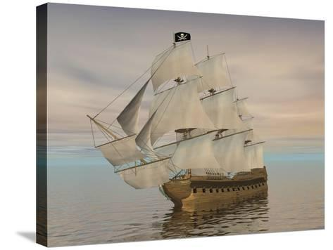 Pirate Ship with Black Jolly Roger Flag Sailing the Ocean--Stretched Canvas Print