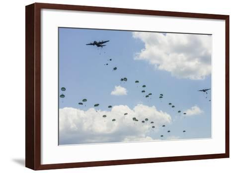 A C-130 Hercules Drop U.S. Army Airborne Troops over Maryland--Framed Art Print