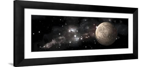 A Heavily Cratered Moon Alone in Deep Space--Framed Art Print