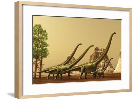 A Herd of Mamenchisaurus Dinosaurs Migrate to Better Feeding Ground--Framed Art Print