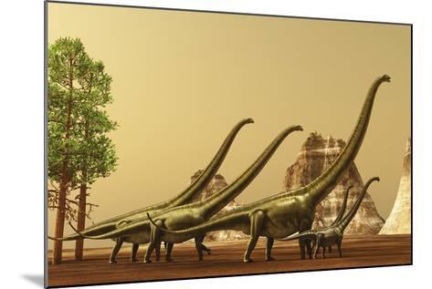 A Herd of Mamenchisaurus Dinosaurs Migrate to Better Feeding Ground--Mounted Art Print