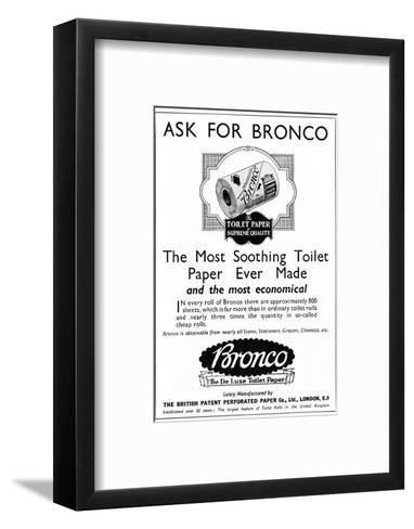 Bronco, Toilet, Paper, Advertisement--Framed Art Print