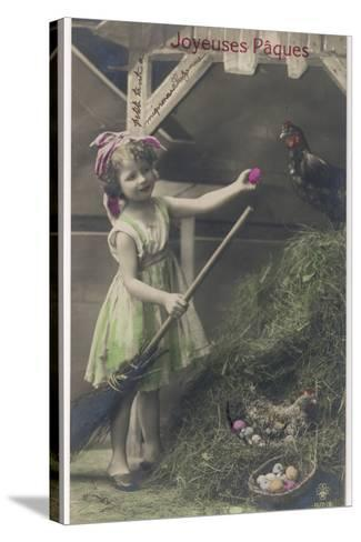 Little Girl with Coloured Eggs in a Poultry Yard--Stretched Canvas Print