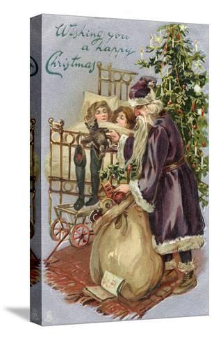 Father Christmas Delivering Xmas Presents--Stretched Canvas Print