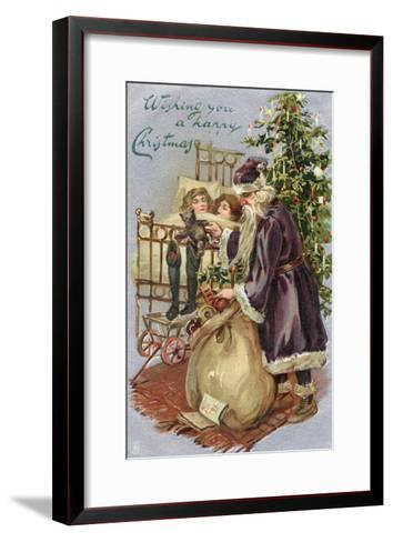 Father Christmas Delivering Xmas Presents--Framed Art Print
