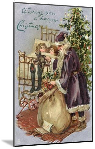 Father Christmas Delivering Xmas Presents--Mounted Giclee Print