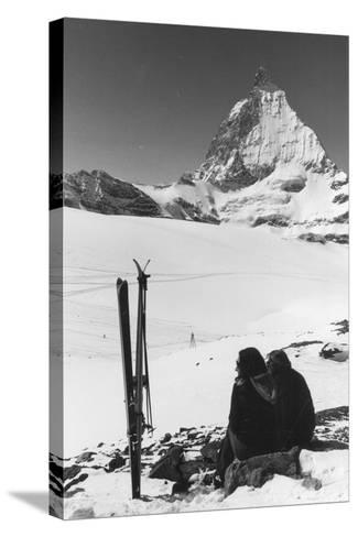 Resting Skiers--Stretched Canvas Print