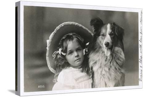 Girl in Straw Hat with Dog--Stretched Canvas Print