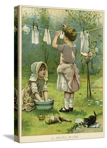 Girls Wash Dolls Clothes--Stretched Canvas Print