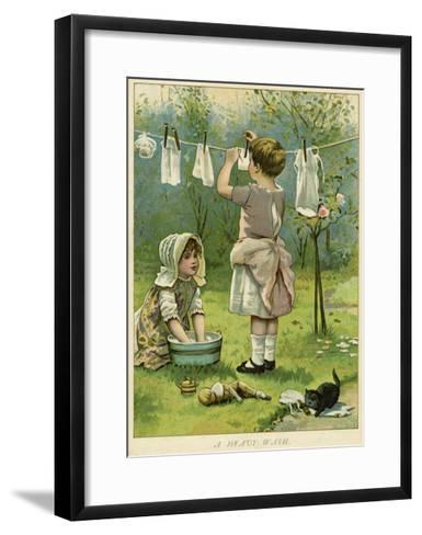 Girls Wash Dolls Clothes--Framed Art Print