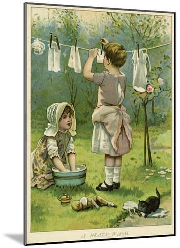 Girls Wash Dolls Clothes--Mounted Giclee Print