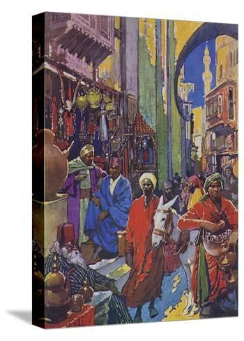 Crowded Shopping Street Bazaar in Cairo, Egypt--Stretched Canvas Print