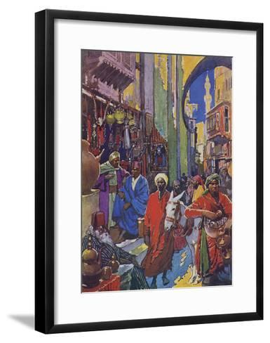 Crowded Shopping Street Bazaar in Cairo, Egypt--Framed Art Print