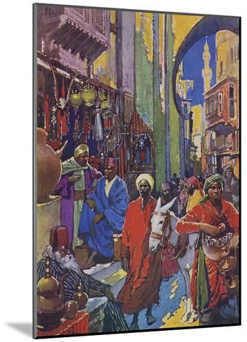 Crowded Shopping Street Bazaar in Cairo, Egypt--Mounted Giclee Print