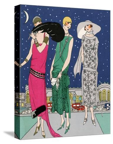 Three Young Ladies in Evening Outfits by Worth--Stretched Canvas Print