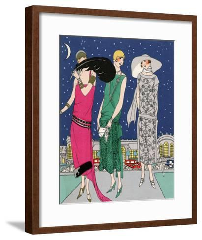 Three Young Ladies in Evening Outfits by Worth--Framed Art Print