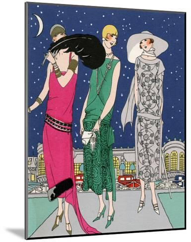 Three Young Ladies in Evening Outfits by Worth--Mounted Giclee Print