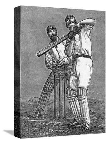 Cricket a Batsman Dealing with a Full Pitch--Stretched Canvas Print