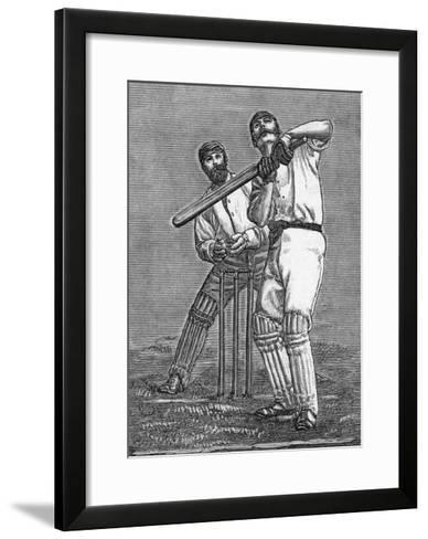 Cricket a Batsman Dealing with a Full Pitch--Framed Art Print