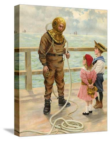 Diver and Children--Stretched Canvas Print