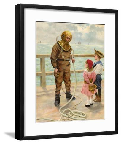 Diver and Children--Framed Art Print