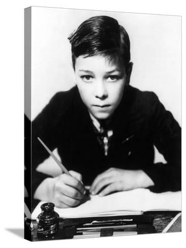 Boy Writing--Stretched Canvas Print