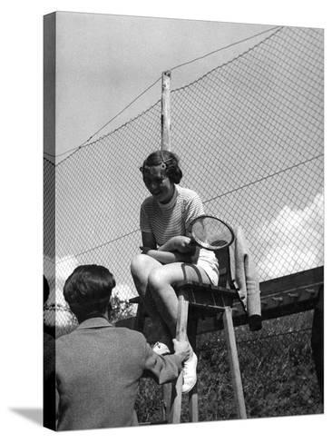 Love on the Tennis Court--Stretched Canvas Print