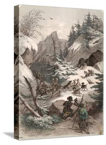 Bear Hunt Medieval--Stretched Canvas Print