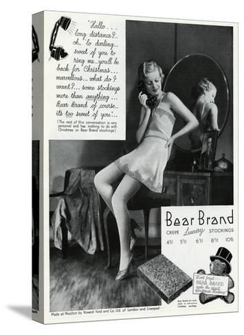 Advert for Stockings by Bear Brand 1934--Stretched Canvas Print