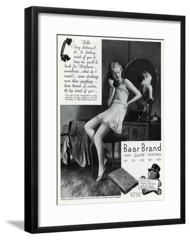 Advert for Stockings by Bear Brand 1934--Framed Art Print