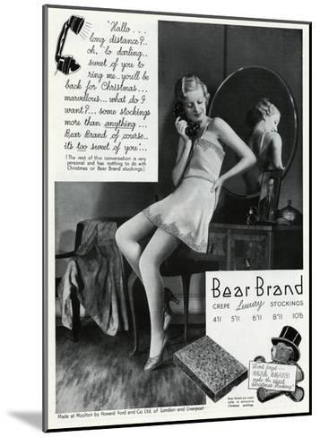 Advert for Stockings by Bear Brand 1934--Mounted Giclee Print