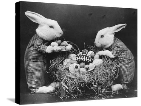Easter Bunnies and Eggs--Stretched Canvas Print