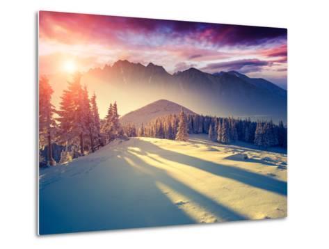 Fantastic Evening Landscape in a Colorful Sunlight. Dramatic Wintry Scene. National Park Carpathian-Leonid Tit-Metal Print