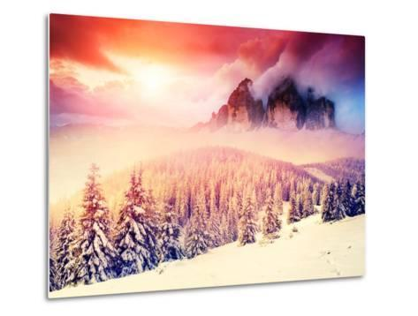 Fantastic Evening Landscape in a Colorful Sunlight. Dramatic Wintry Scene. National Park Carpathian-Leonid Tit-Metal Print