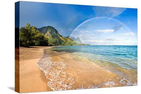 Rainbow Paradise Beach-M Swiet Productions-Stretched Canvas Print