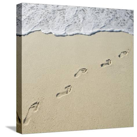 Usa, Massachusetts, Nantucket, Footprints on Sandy Beach Leading into Sea-Chris Hackett-Stretched Canvas Print