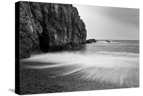 Waves Breaking on Black Sand Beach-Arctic-Images-Stretched Canvas Print