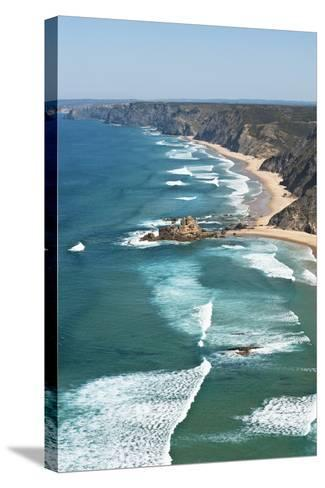 Portugal, Algarve, Sagres, View of Atlantic Ocean with Waves-Westend61-Stretched Canvas Print