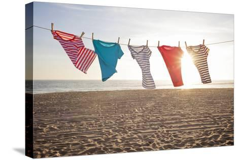 T-Shirts Hanging on a Clothesline at the Beach-Siri Stafford-Stretched Canvas Print