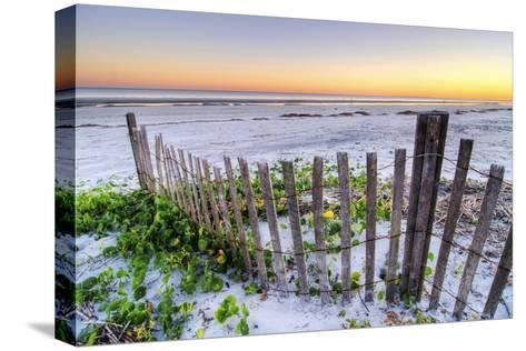 A Beach Fence at Sunset on Hilton Head Island, South Carolina.-Rachid Dahnoun-Stretched Canvas Print