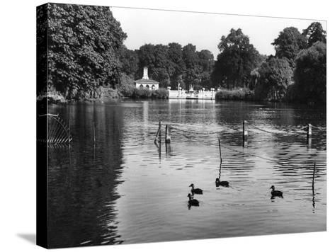 Kensington Gardens Lake-Fred Musto-Stretched Canvas Print