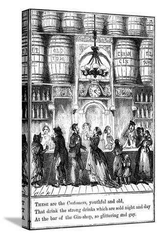 Customers from the Gin-Shop by Cruikshank-George Cruikshank-Stretched Canvas Print
