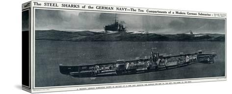 Cross Section of a German Submarine-G.h. Davis-Stretched Canvas Print