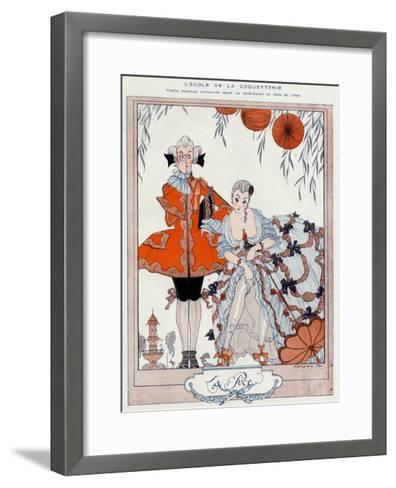 The School of Coquetry!-Georges Barbier-Framed Art Print