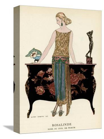 Elegant Woman in Visiting Dress 1922-Georges Barbier-Stretched Canvas Print