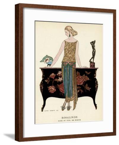 Elegant Woman in Visiting Dress 1922-Georges Barbier-Framed Art Print