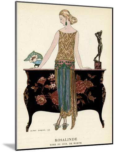 Elegant Woman in Visiting Dress 1922-Georges Barbier-Mounted Giclee Print