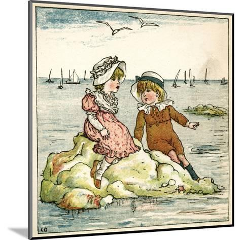 Girl and Boy Sitting on a Rock-Kate Greenaway-Mounted Giclee Print