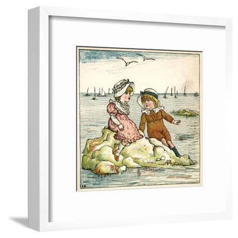 Girl and Boy Sitting on a Rock-Kate Greenaway-Framed Art Print